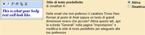 stile testo predefinito email